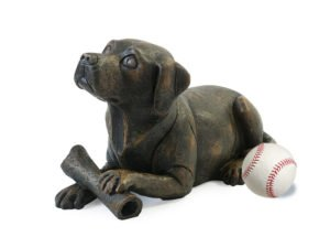 Dog with Bone Urn - Bronze