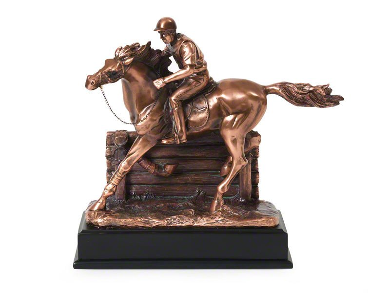 Lovely figurine horse shaped pet ashes keepsake urn for token equine ashes. Depicts eventing scene. Design your own optional engraved plaque to personalise.